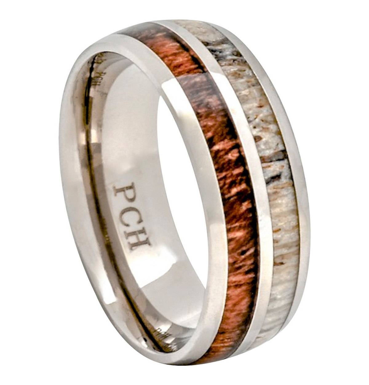 Deer Antler Koa Wood Ring Titanium Mens Wedding Band Comfort Intended For Mens Wedding Bands With Deer Antlers (View 4 of 15)