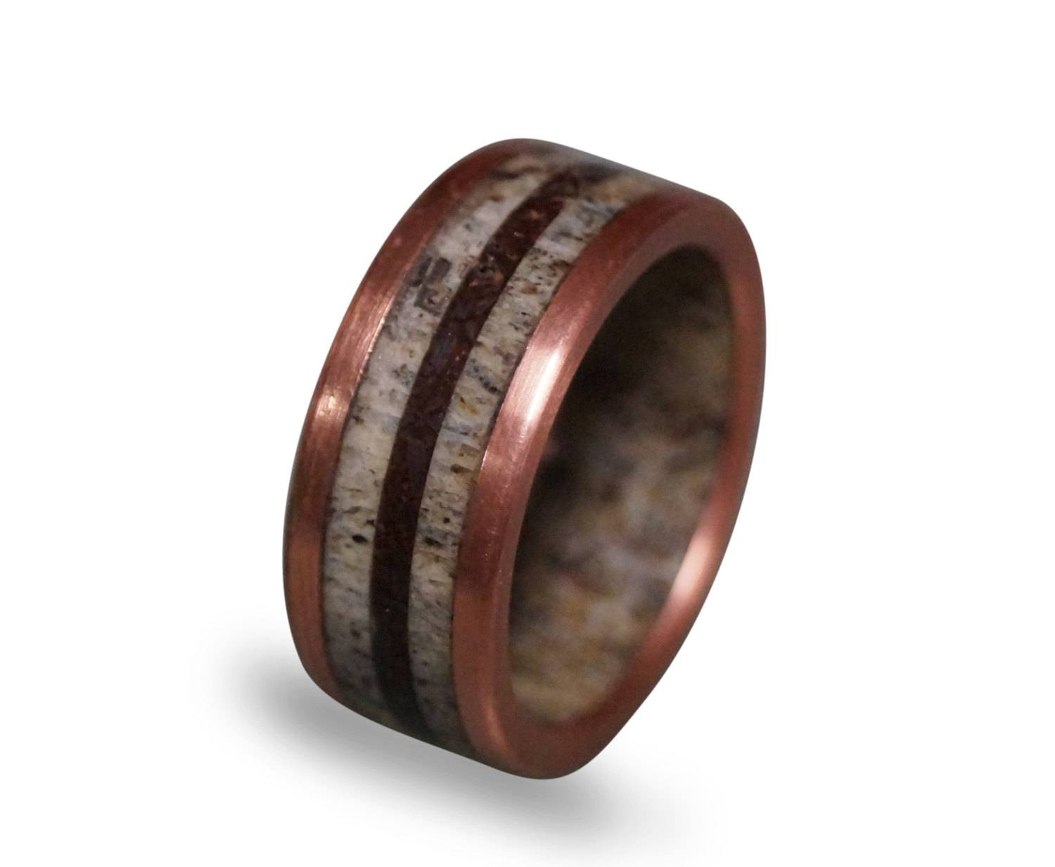 Deer Antler Ring With Patina Copper And Dinosaur Fossil Inlays Throughout Mens Wedding Bands With Deer Antlers (View 5 of 15)