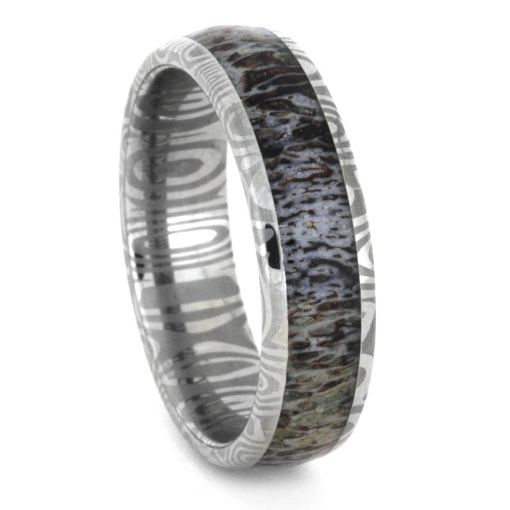 Deer Antler Wedding Band In Damascus Stainless Steel 3350 For Steel Wedding Bands (View 11 of 15)