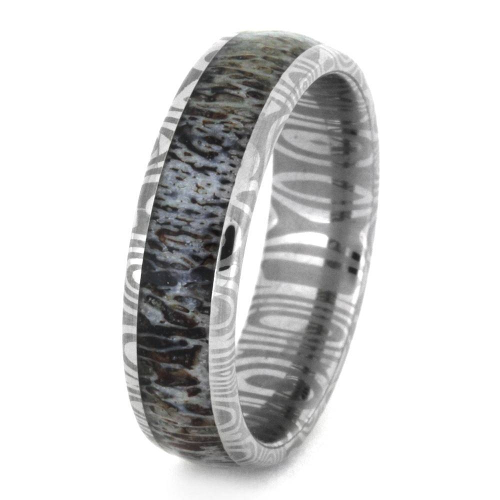 Deer Antler Wedding Band In Damascus Stainless Steel 3350 In Steel Wedding Bands (View 14 of 15)