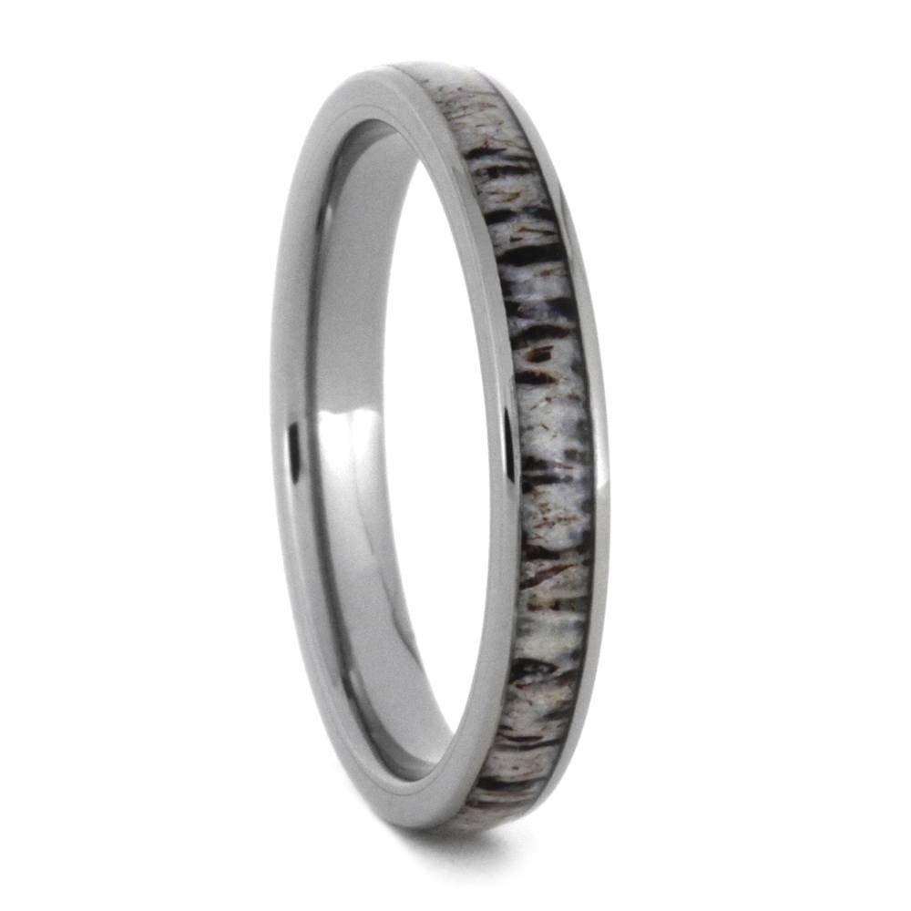 Deer Antler Wedding Ring Set, His And Hers Matching Wedding Bands Throughout Antler Wedding Bands (View 8 of 15)