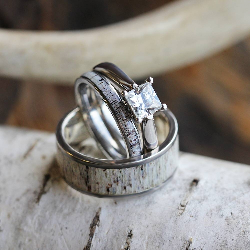 Deer Antler Wedding Ring Set, His And Hers Matching Wedding Bands With Regard To Antler Engagement Rings (View 6 of 15)