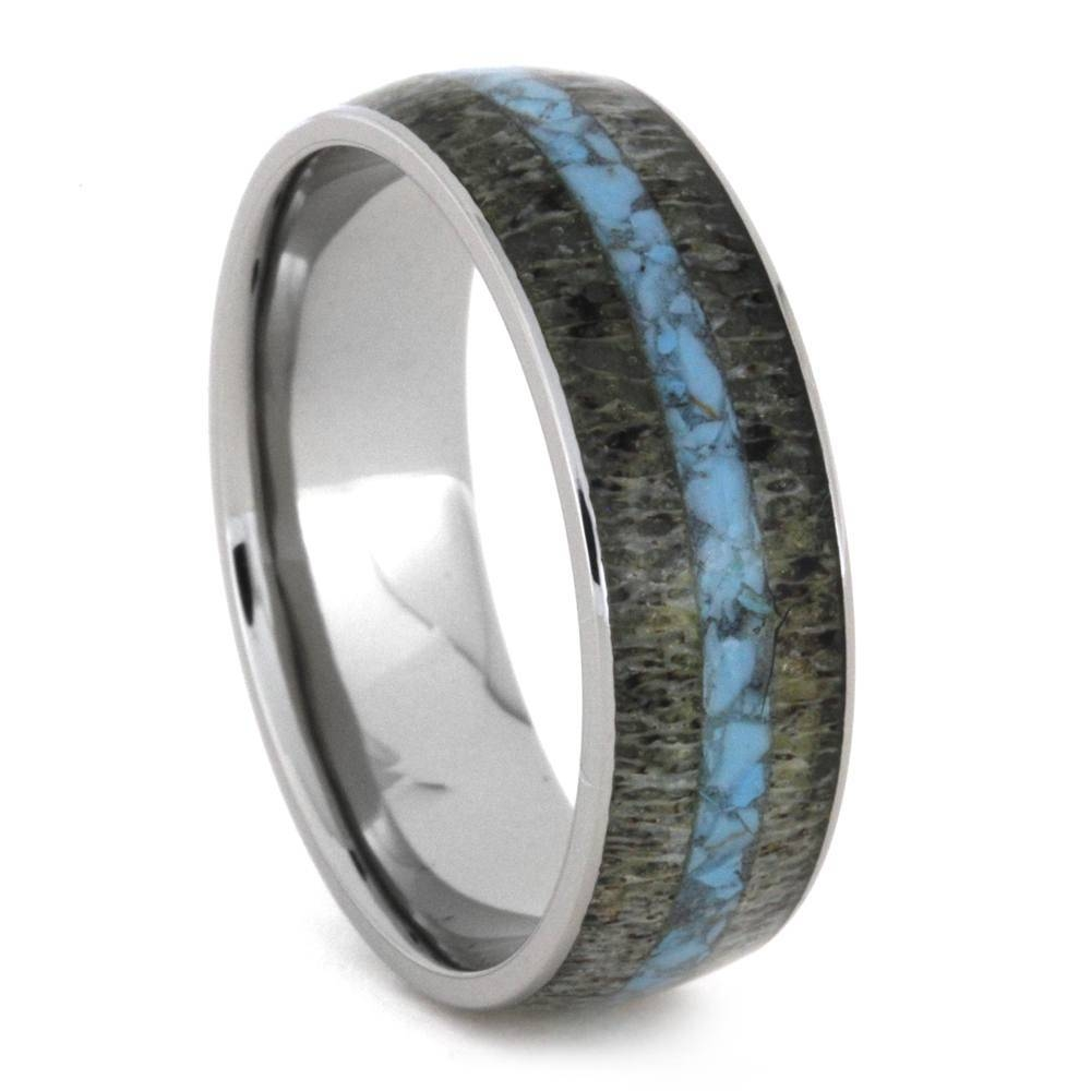 Deer Antler Wedding Ring Set With Diamond And Turquoise 3411 With Regard To Antler Wedding Bands (View 7 of 15)