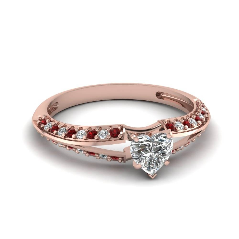 Delicate Split Heart Diamond Ring With Ruby In 14K Rose Gold With Engagement Rings Ruby And Diamond (View 6 of 15)