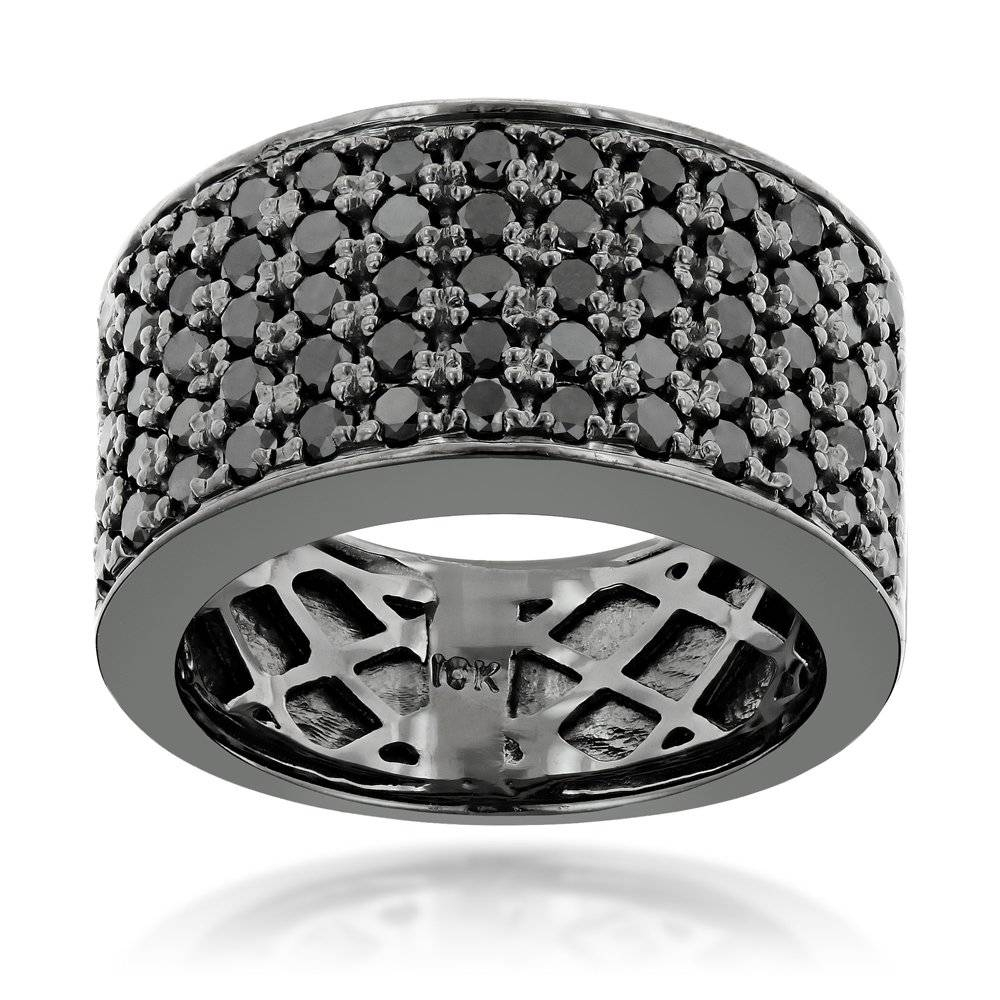 Designer 10K Gold Black Diamond Wedding Band For Men  (View 3 of 15)