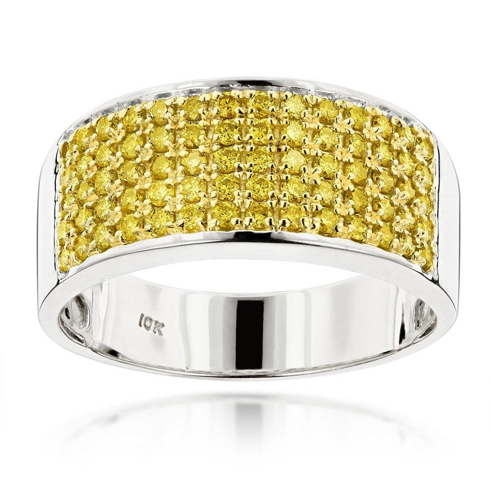 Designer 10k Gold Yellow Diamond Wedding Band For Men (View 10 of 15)