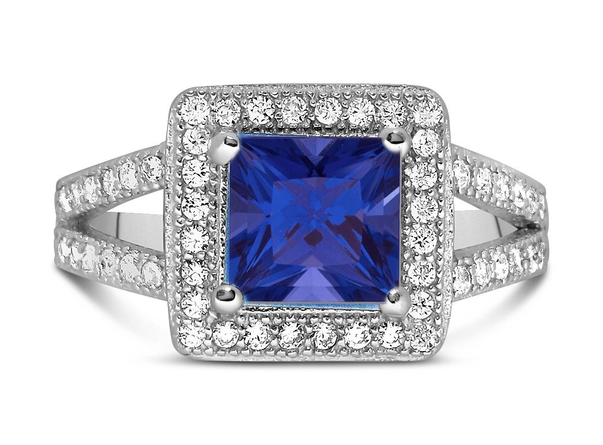 Designer 2 Carat Princess Cut Blue Sapphire And Diamond Halo Intended For Princess Cut Sapphire Engagement Rings (View 5 of 15)