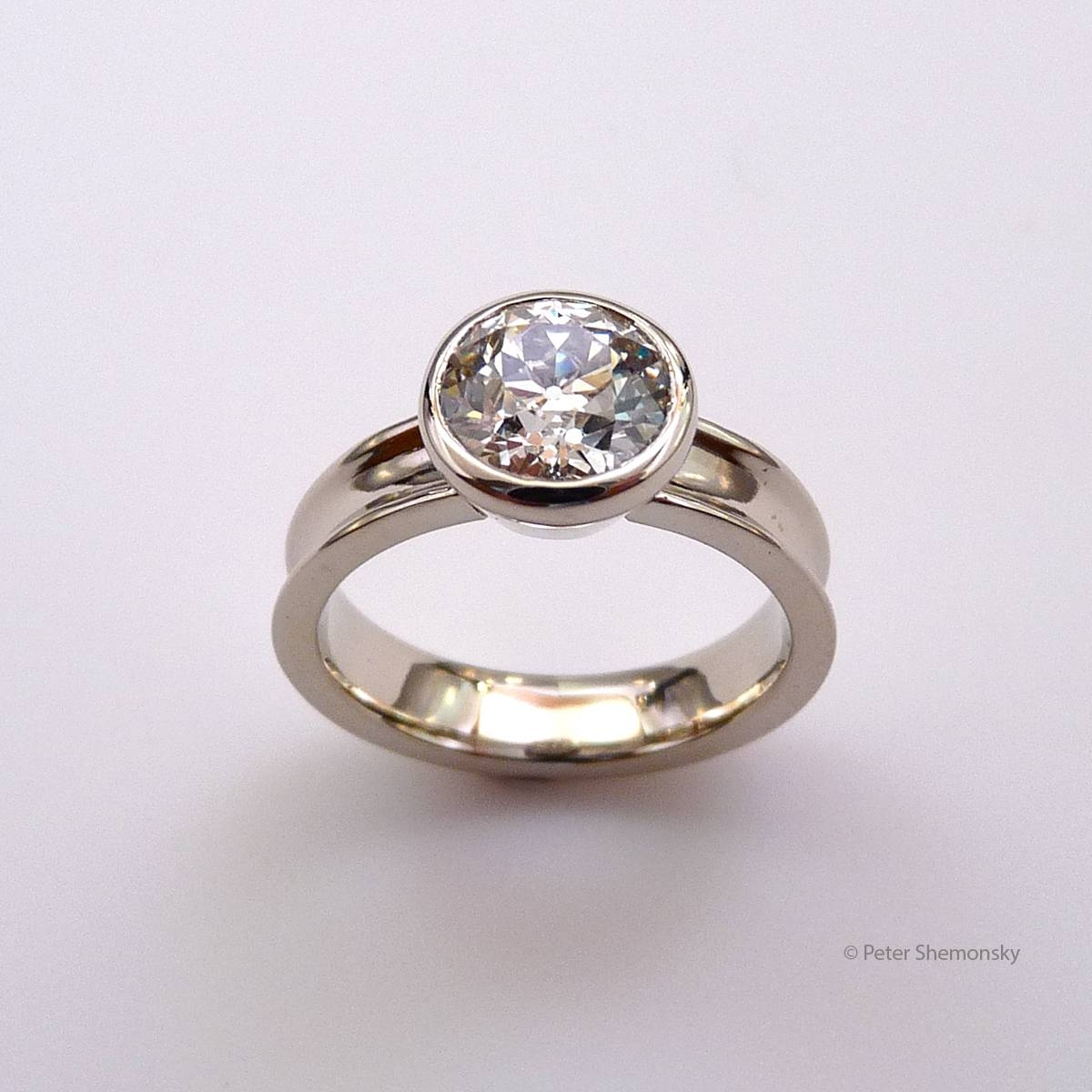 Diamond And Eighteen Karat White Gold Engagement Ring | Peter Jon With Regard To Flat Engagement Ring Settings (Gallery 1 of 15)
