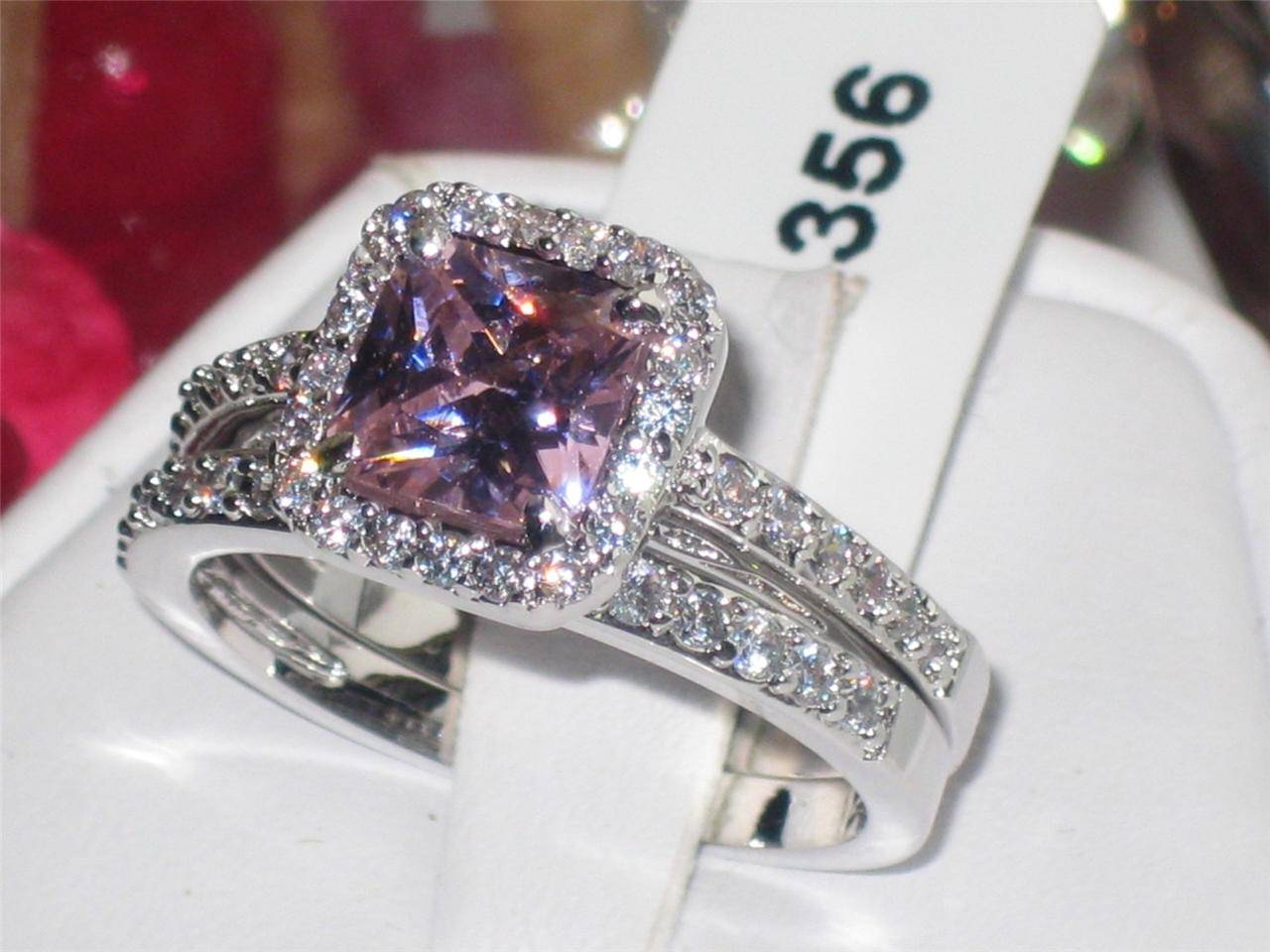 Diamond And Pink Sapphire Engagement Ring Womens Pcs Pink Sapphire With Regard To Pink Sapphire Engagement Rings (View 4 of 15)