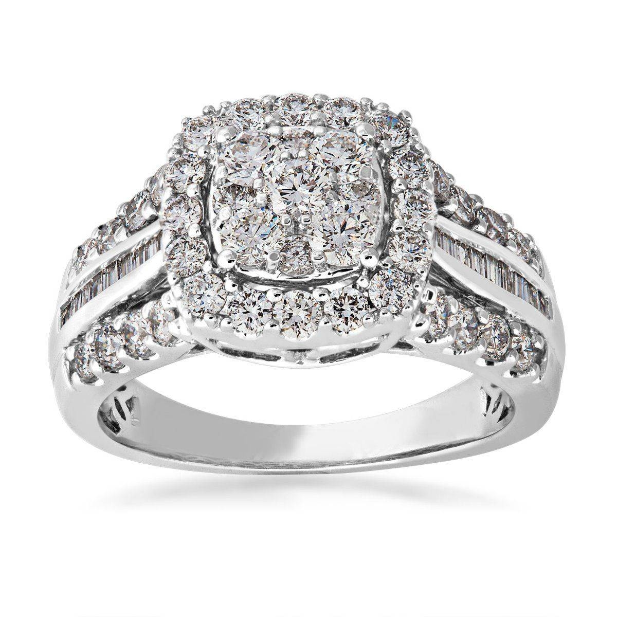 Diamond Cluster Engagement Ring In 10 Kt (View 7 of 15)