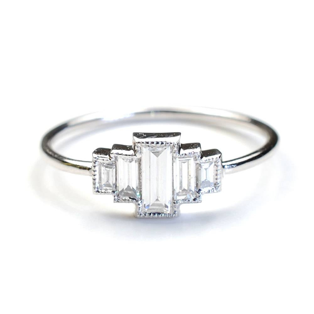 Diamond Engagement Ring Engagement Ring Baguette Engagement For Baguette Diamond Wedding Rings (View 2 of 15)