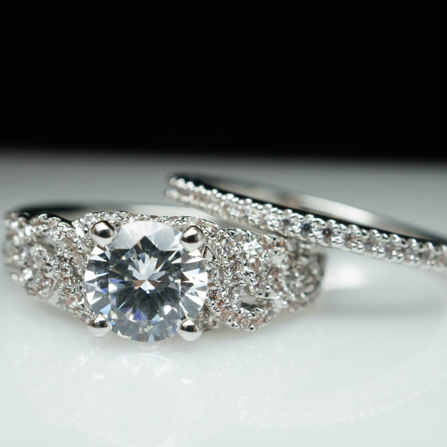 Diamond Engagement Ring & Matching Wedding Band Set Solitaire Intended For Intricate Band Engagement Rings (View 4 of 15)