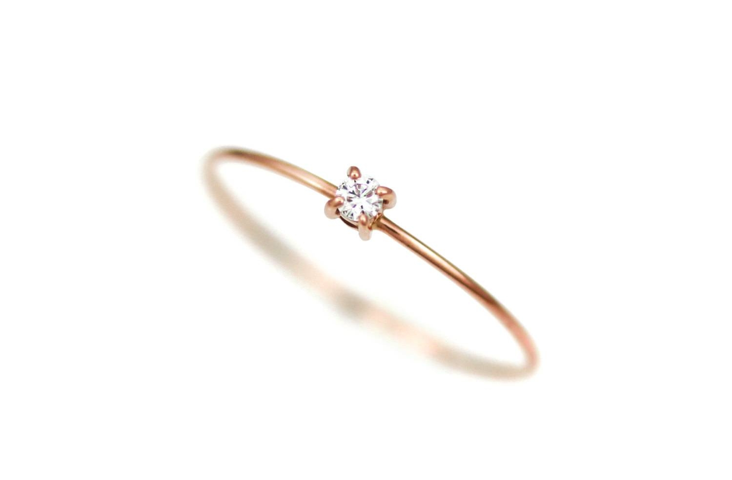 Diamond Engagement Ring Thin Diamond Ring Gold Simple With Regard To Thin Wedding Rings (View 3 of 15)