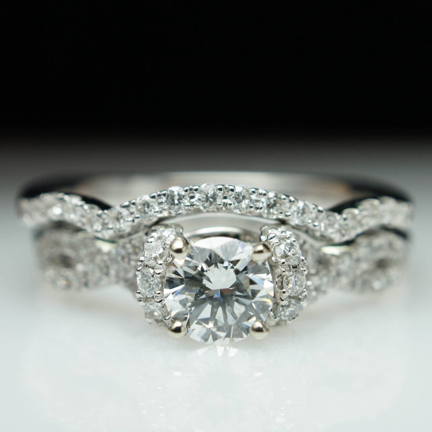 Diamond Half Halo Infinity Engagement Ring & Wedding Band With Regard To Infinity Engagement Rings And Wedding Bands (Gallery 14 of 15)
