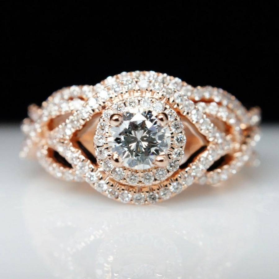 Diamond Halo 14k Rose Gold Engagement Ring & Wedding Band Set Inside Twisted Engagement Rings With Wedding Band (View 12 of 15)