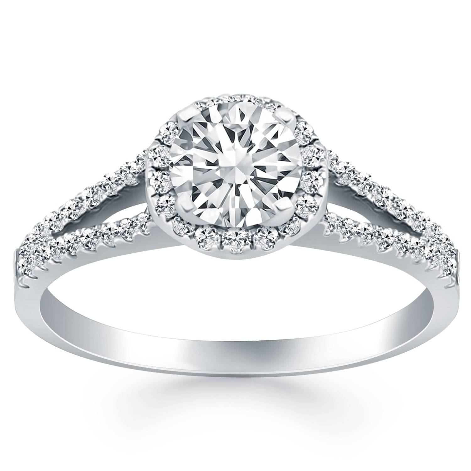 Diamond Halo Split Shank Engagement Ring Mounting In 14k White For Split Shank Wedding Rings (View 5 of 15)