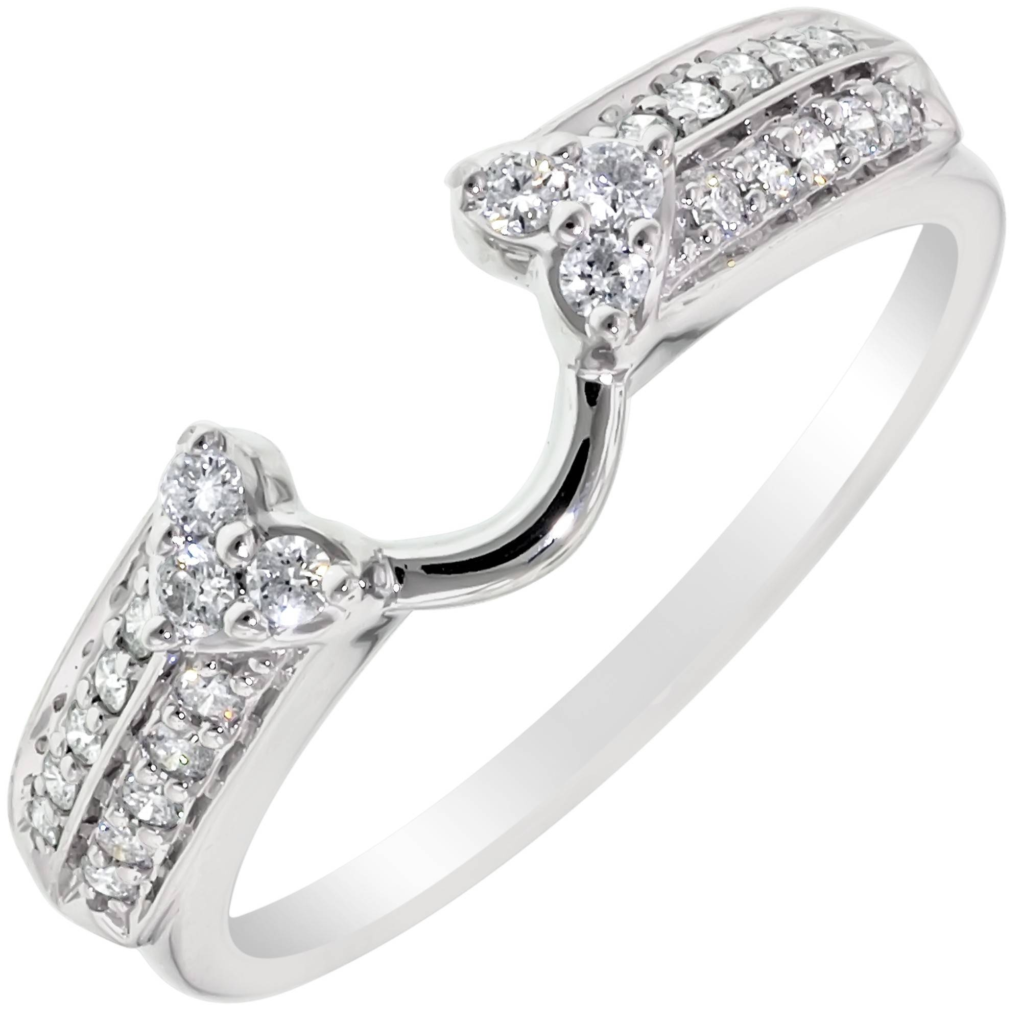 Diamond Heart Wedding Ring Wrap In 14Kt White Gold (1/5Ct Tw) Inside Wrap Rings Wedding Bands (View 2 of 15)