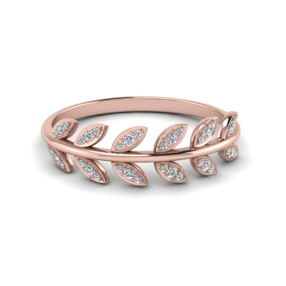 Diamond Leaf Nature Inspired Wedding Band In 14K Rose Gold With Rose Gold Wedding Bands (View 4 of 15)
