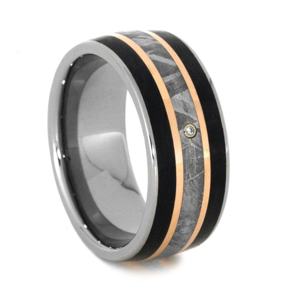 Diamond Meteorite Wedding Band With Petrified Wood And Rose Gold For Men's Wedding Bands Meteorite (View 12 of 15)