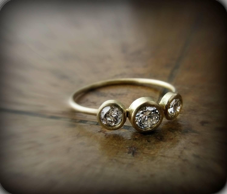 Diamond Ring Recycled 18k Gold Ring With 3 Bezel Set Regarding Bezel Wedding Rings (View 12 of 15)