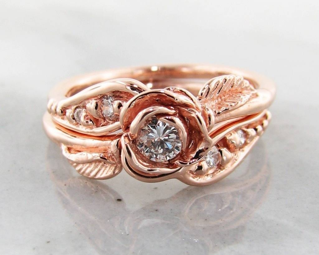 Diamond Rose Gold Wedding Ring Set, Prize Tea Rose – Wexford Jewelers Inside Wedding Rings That Looks Like A Rose (View 2 of 15)