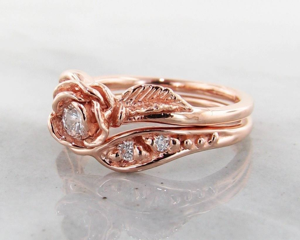 Diamond Rose Gold Wedding Ring Set, Prize Tea Rose – Wexford Jewelers Within Rose Gold Wedding Bands Sets (View 9 of 15)