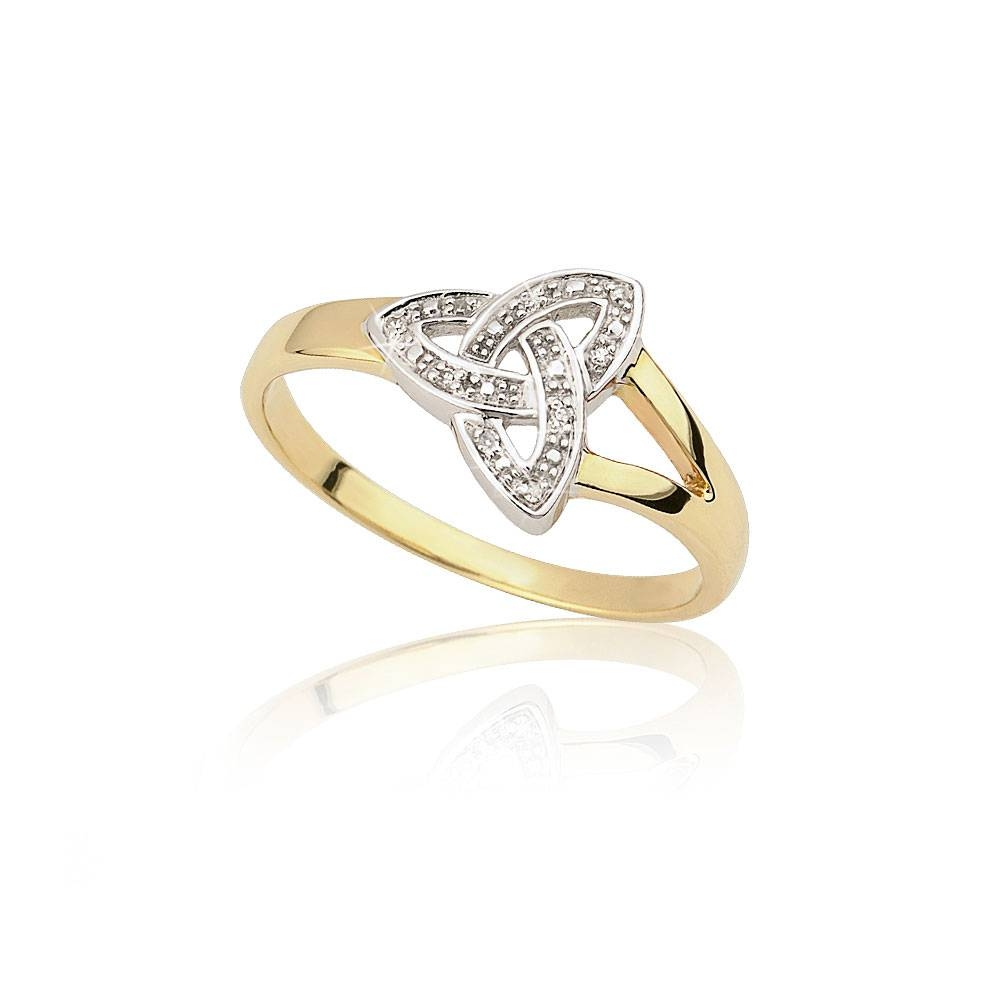 Diamond Set Gold Trinity Knot Ring, Gold Rings Ireland, Moriartys Within Celtic Trinity Engagement Rings (View 5 of 15)