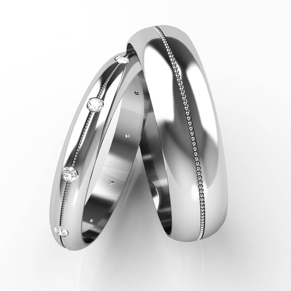 Diamond Set His And Hers Wedding Rings, 18Ct White Gold Patterned With White Gold Wedding Bands His And Hers (View 9 of 15)
