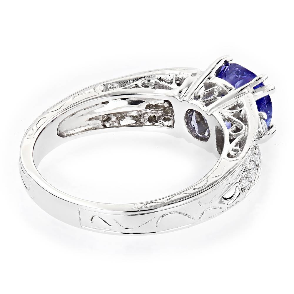 Diamond Tanzanite Engagement Ring For Women 14K Gold 0.3 Ctd 1.5Ctt Throughout Tanzanite Engagement Rings (Gallery 12 of 15)