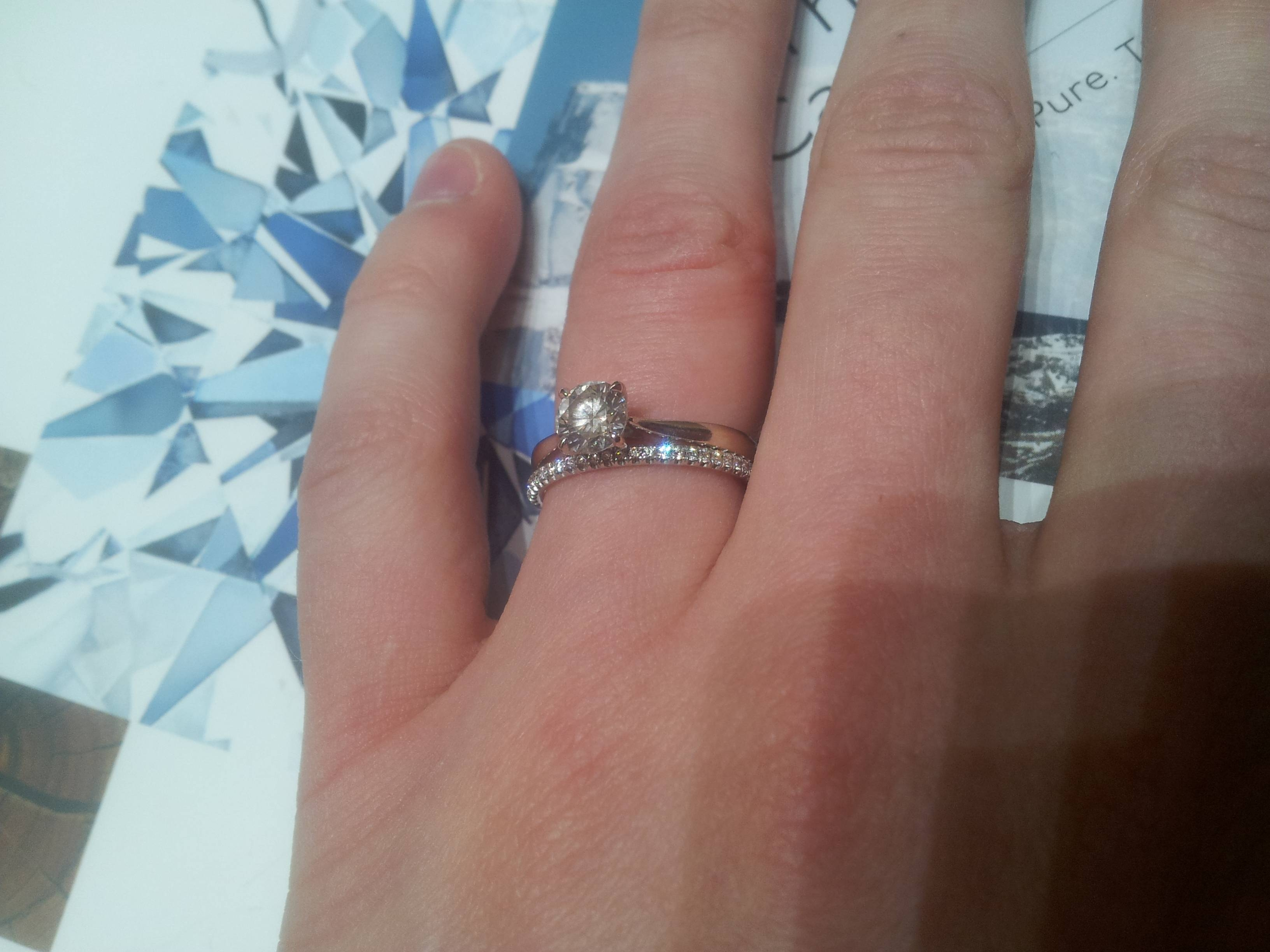 Diamond Wedding Band For Round Brilliant Solitaire Engagement Ring With Regard To  (View 9 of 15)