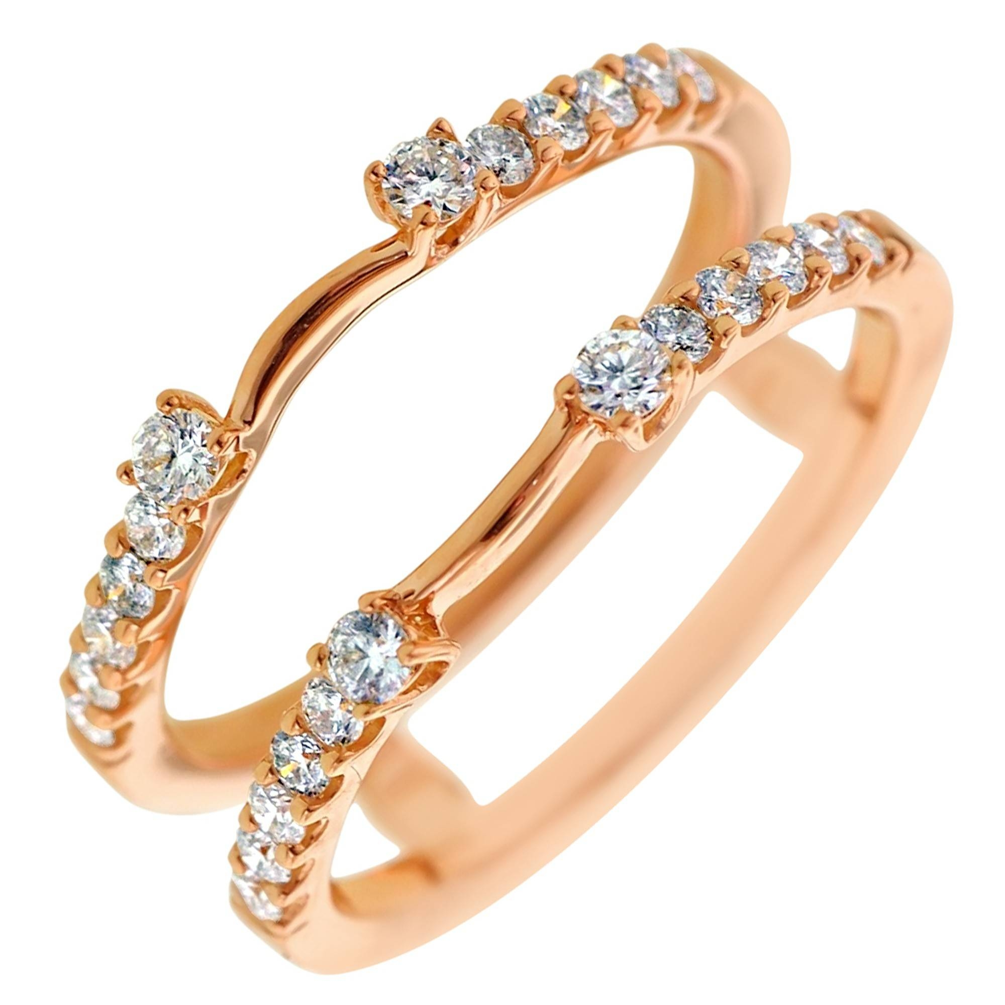 Diamond Wedding Ring Insert In 14Kt Rose Gold (3/8Ct Tw) In Wrap Rings Wedding Bands (View 3 of 15)