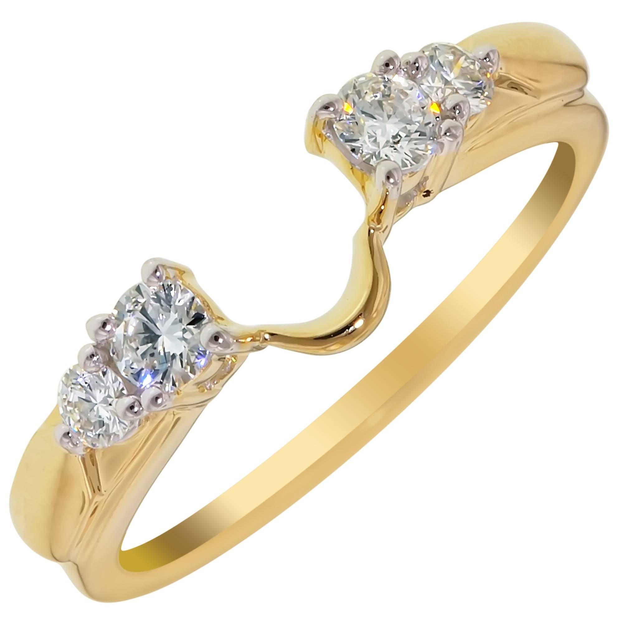 Diamond Wedding Ring Wrap In 14Kt Yellow Gold (1/3Ct Tw) Within Wrap Rings Wedding Bands (View 5 of 15)
