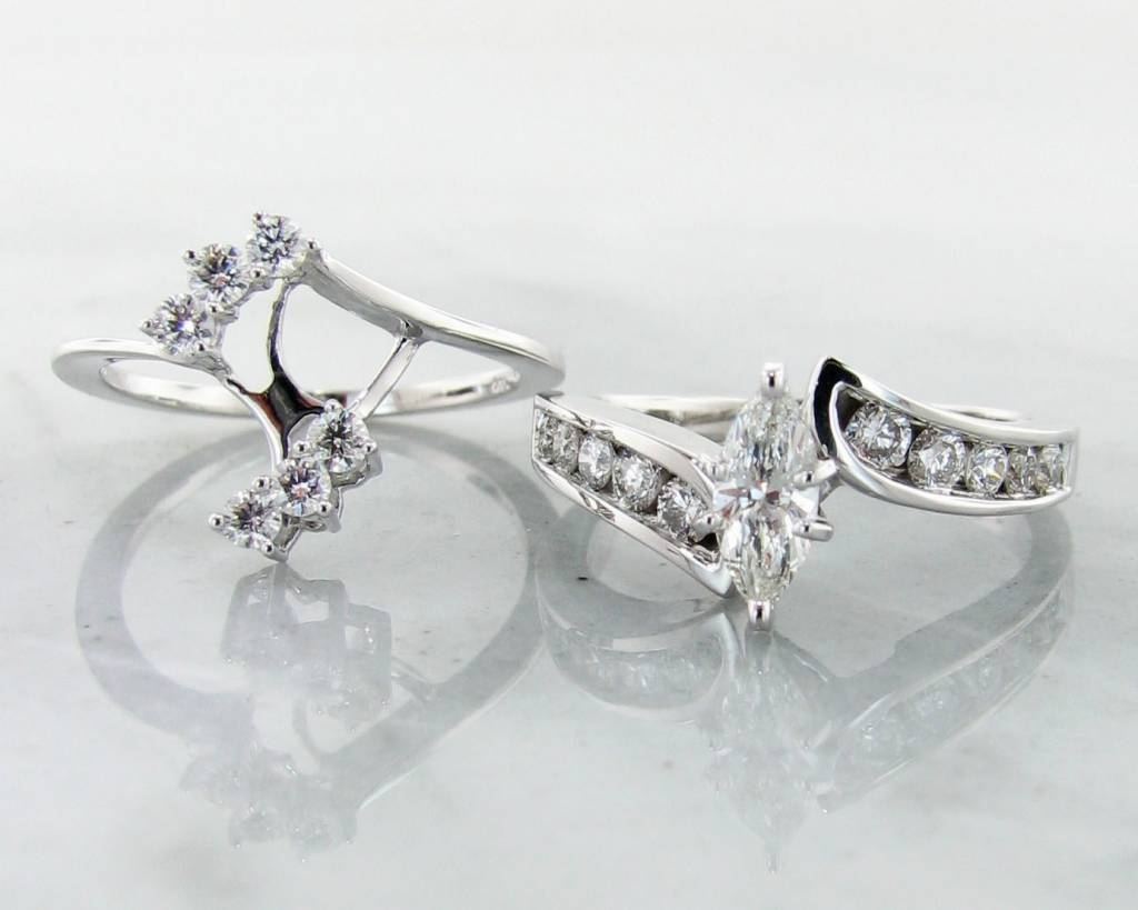 Diamond White Gold Wedding Ring Set, Interlocking Marquise With Regard To Interlocking Engagement Rings (View 5 of 15)