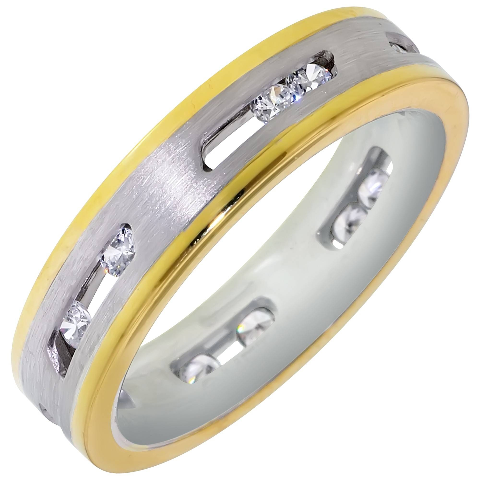 Dora Mens Floating Diamond Wedding Band In 14Kt White And Yellow Inside Floating Diamond Wedding Bands (View 8 of 15)