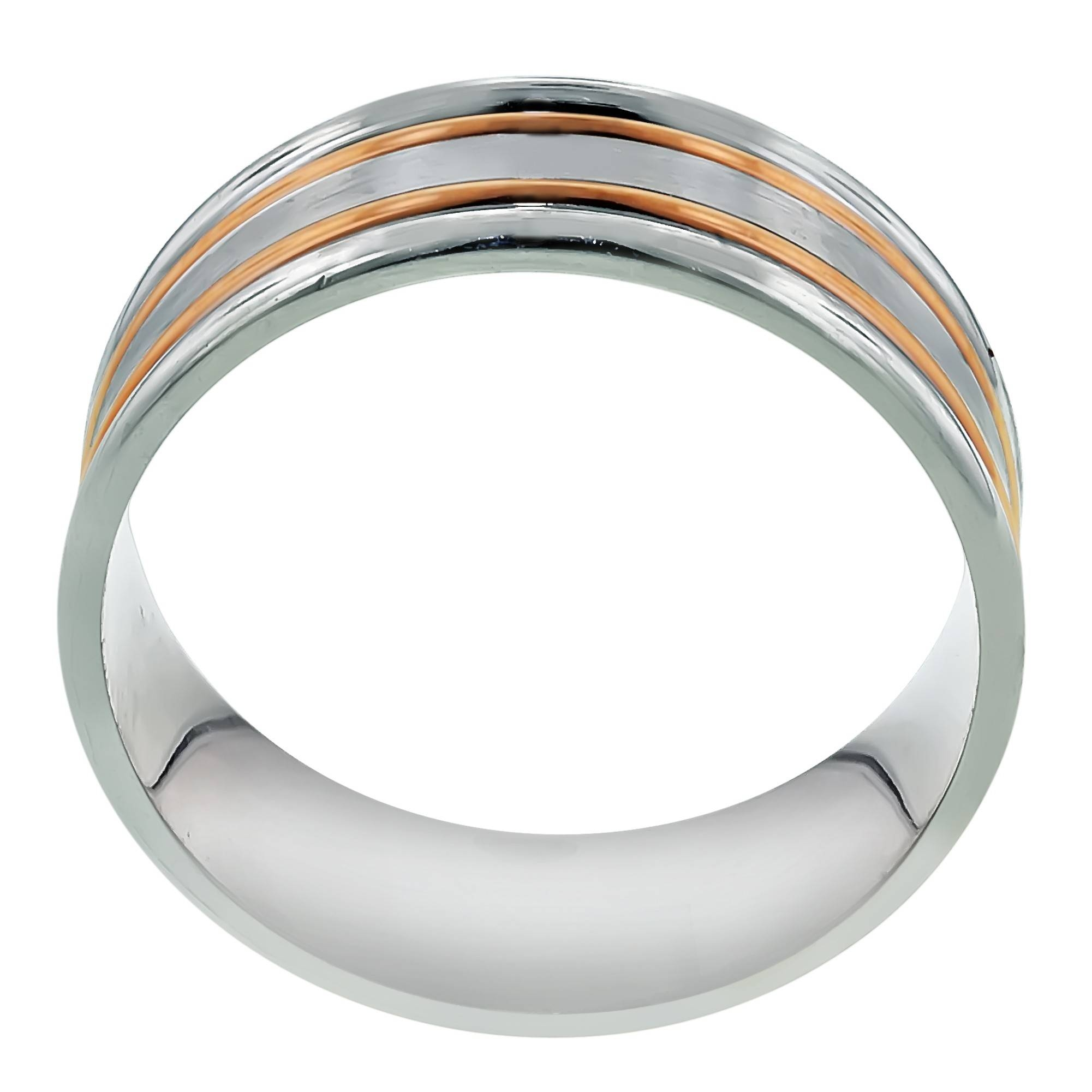 Dora Mens Wedding Band In 14Kt White And Rose Gold (5Mm) Intended For Dora Mens Wedding Bands (View 10 of 15)