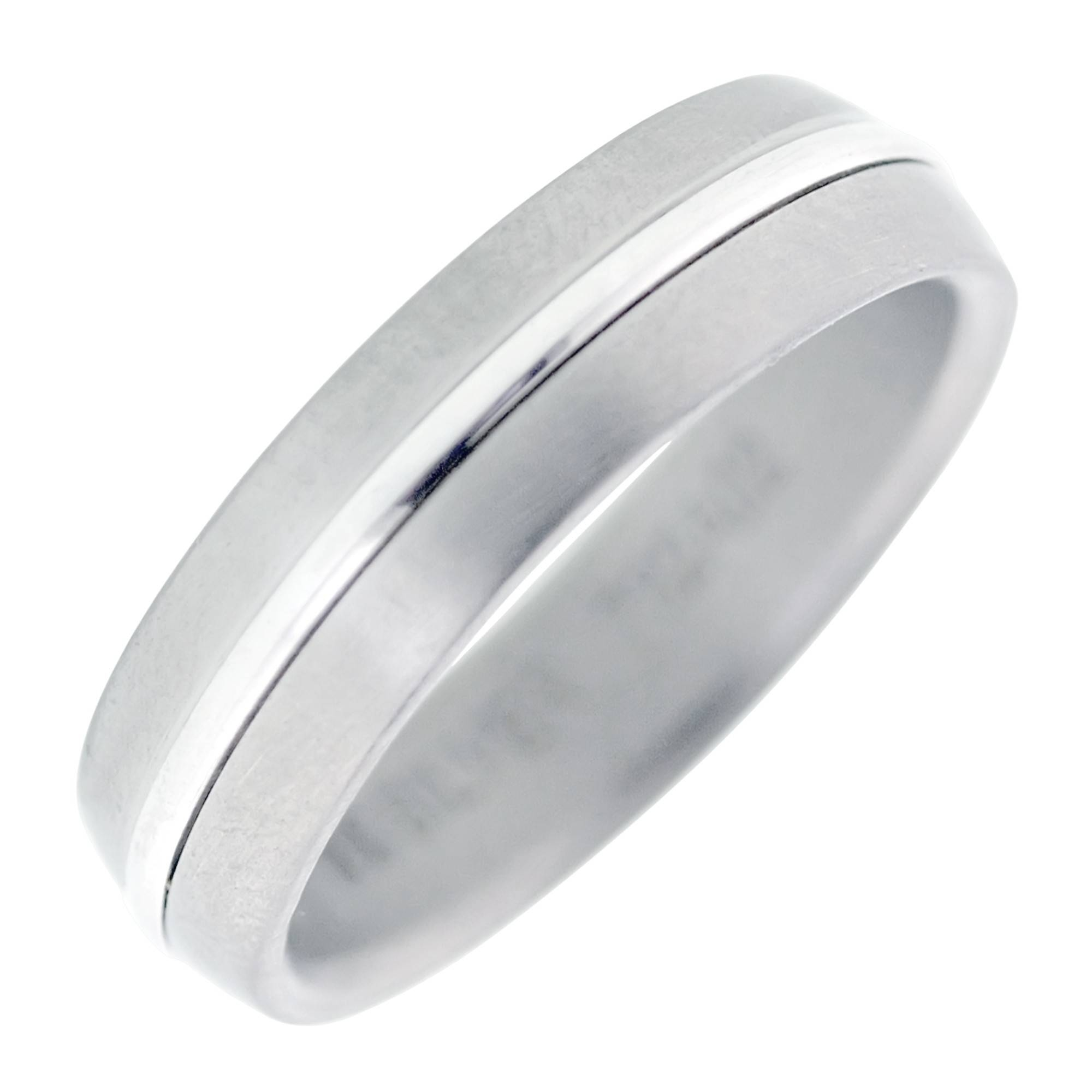 Dora Mens Wedding Band In Titanium And 14Kt White Gold (6Mm) Pertaining To Dora Mens Wedding Bands (View 3 of 15)
