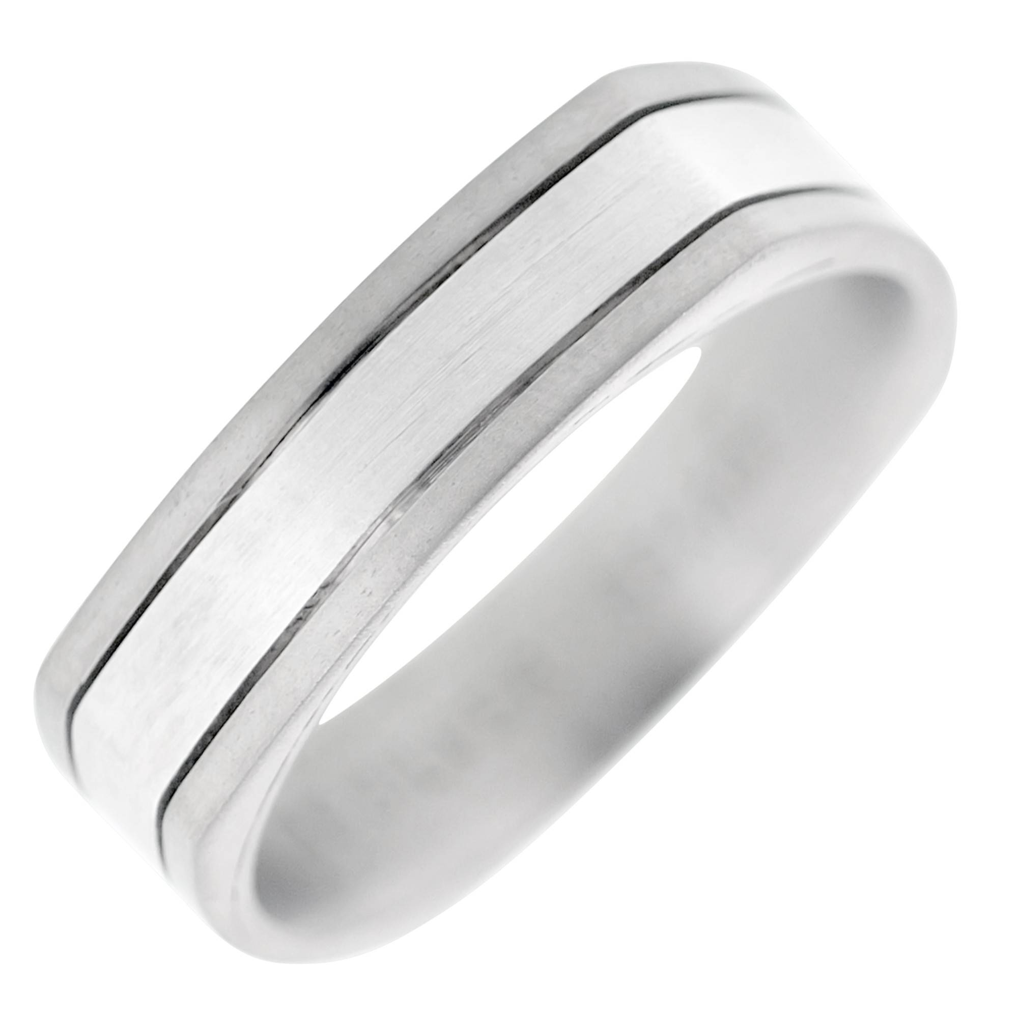 Dora Mens Wedding Band In Titanium And 14Kt White Gold (6Mm) With Regard To Dora Mens Wedding Bands (View 12 of 15)