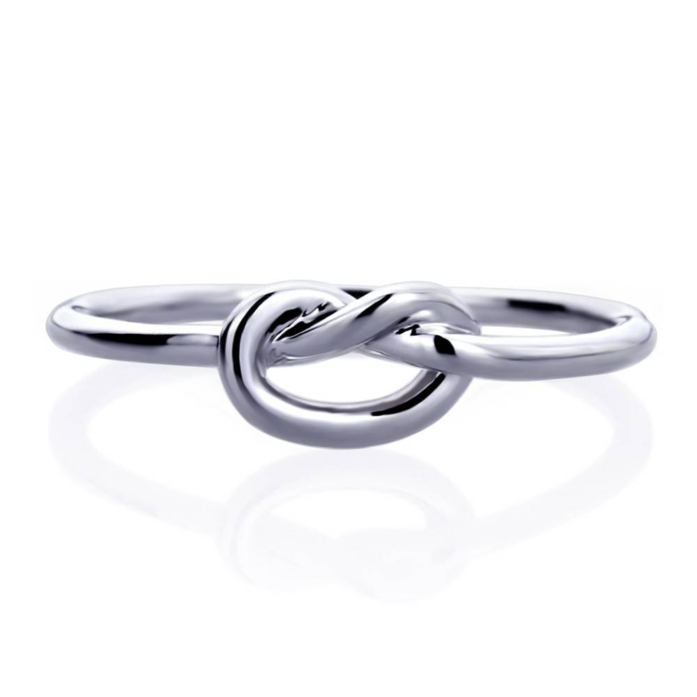 Double Accent | 14K White Gold Rhodium Plated, Wedding Ring Plain With Celtic Love Knot Engagement Rings (View 10 of 15)