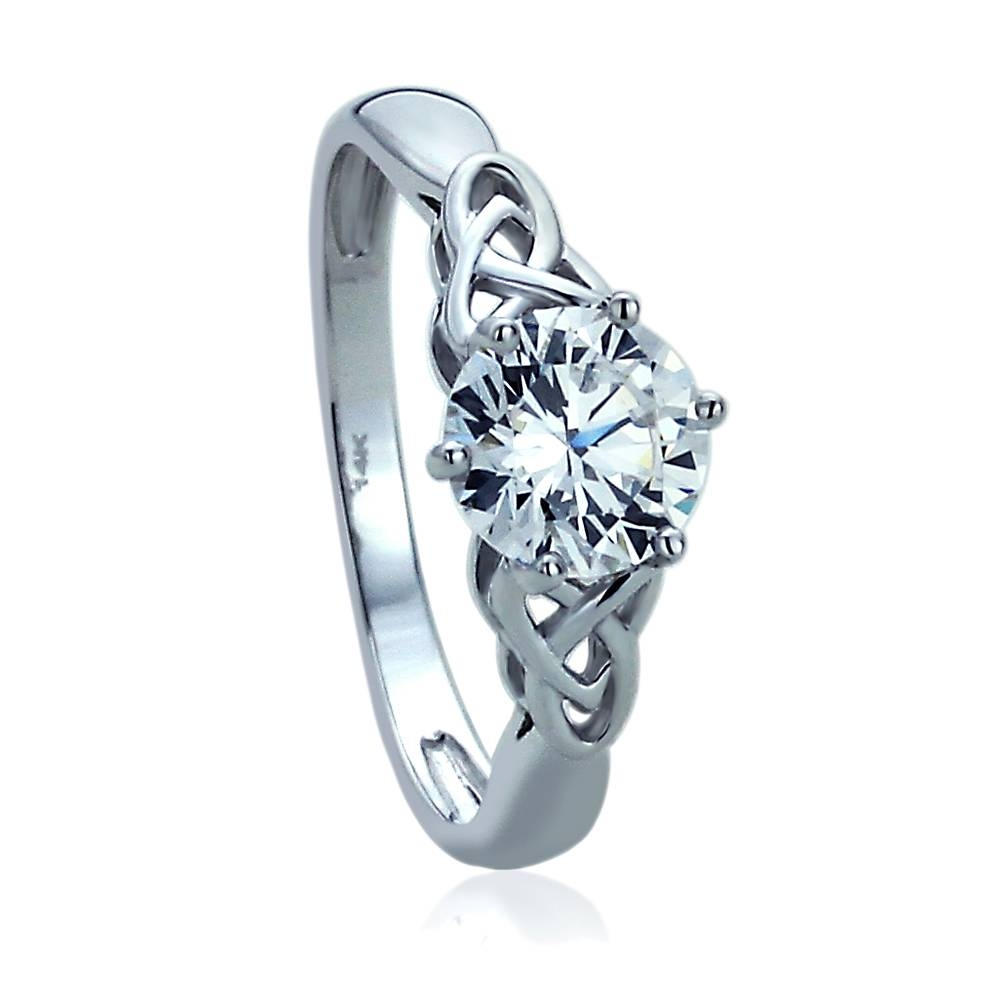 Double Accent | 14k White Gold Rhodium Plated, Wedding Ring Round Throughout Love Knot Engagement Rings (View 4 of 15)