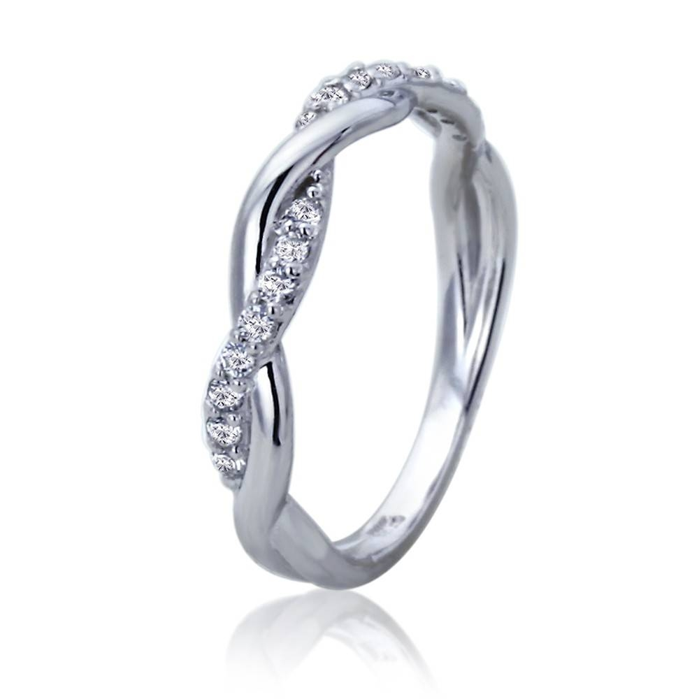 Double Accent | 14K White Gold Wedding Ring Twisted Wedding Band Pertaining To Twisted Wedding Bands (View 9 of 20)