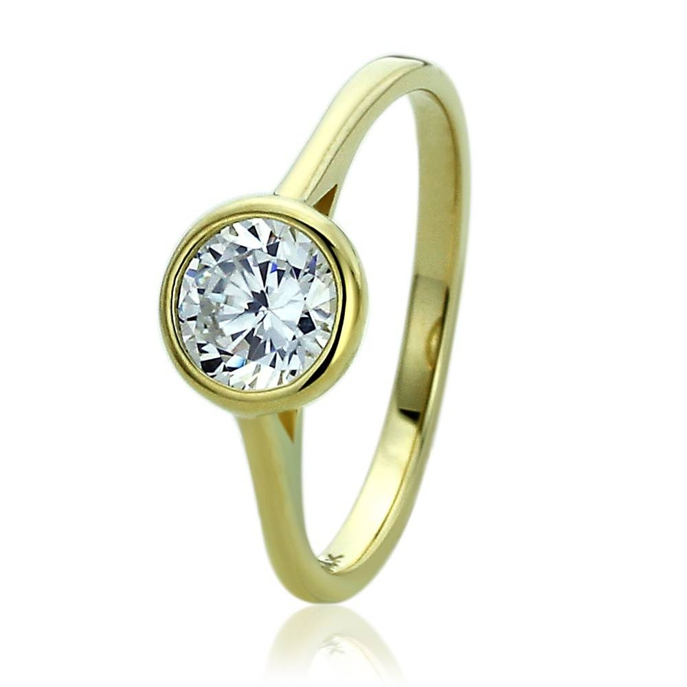 Double Accent | 14K Yellow Gold Wedding Ring Round Cz Bezel Set Within Classic Gold Wedding Rings (View 11 of 15)