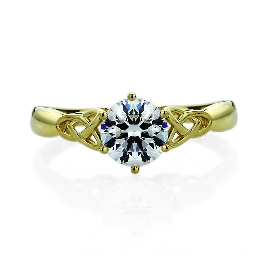 Double Accent | 14k Yellow Gold Wedding Ring Round Cz Celtic Love Inside Love Knot Engagement Rings (View 11 of 15)
