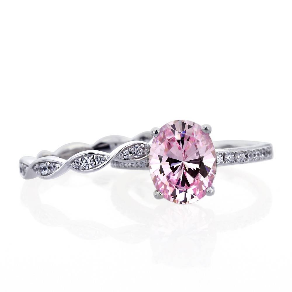 Double Accent | Platinum Plated Sterling Silver Wedding Oval Pink Within Engagement Wedding Rings Sets (View 4 of 15)