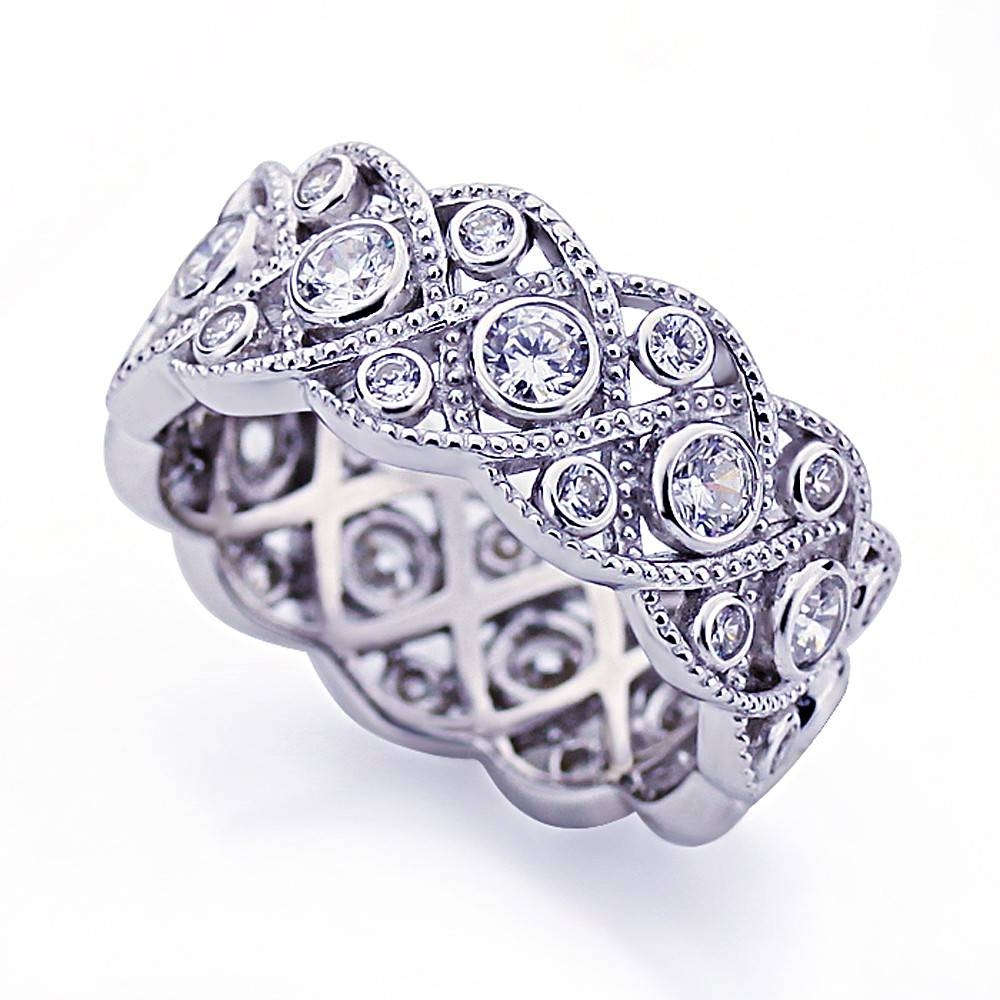 Double Accent | Platinum Plated Sterling Silver Wedding Ring Intended For Eternity Band Wedding Rings (View 12 of 15)