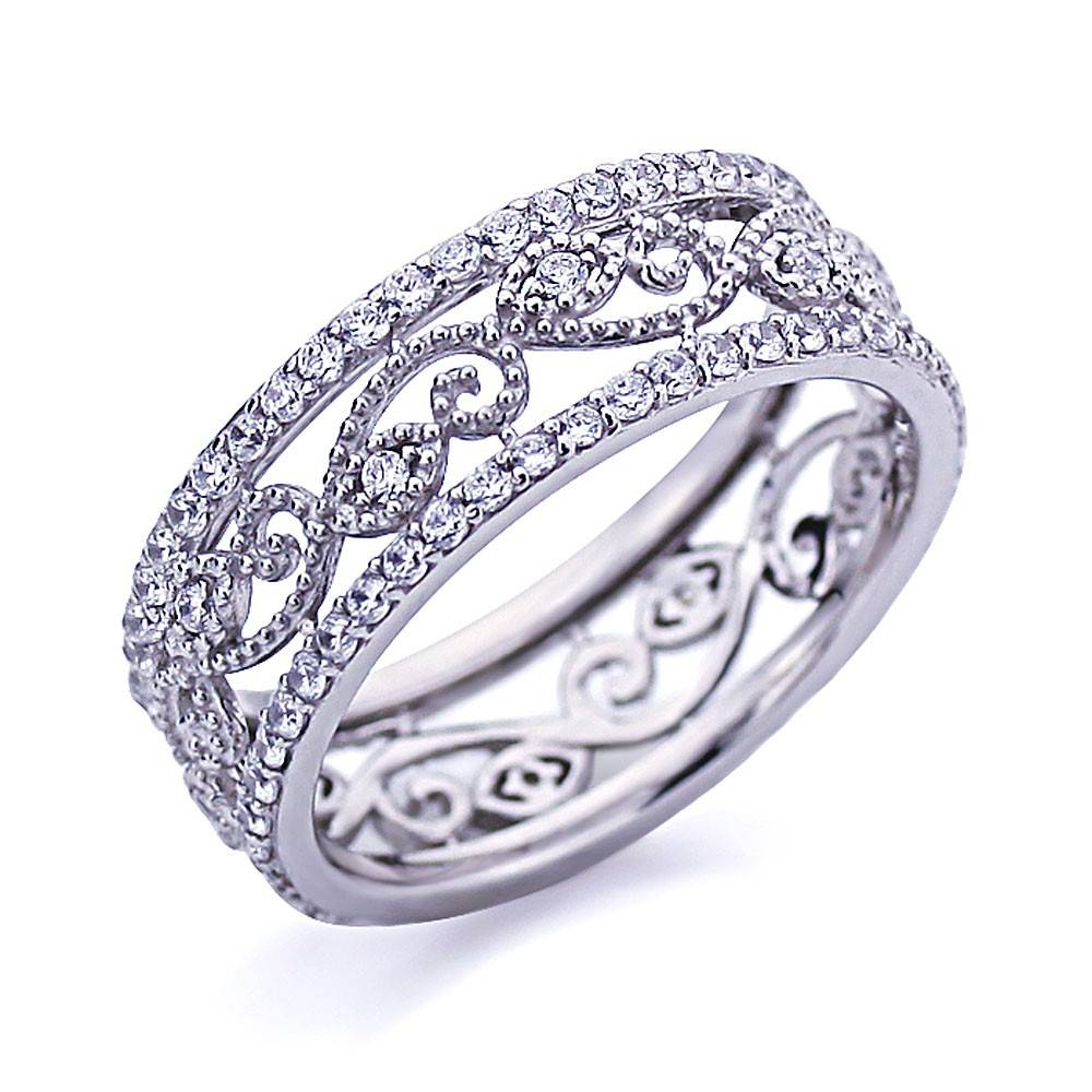 Double Accent | Platinum Plated Sterling Silver Wedding Ring Pertaining To Eternity Band Wedding Rings (View 15 of 15)