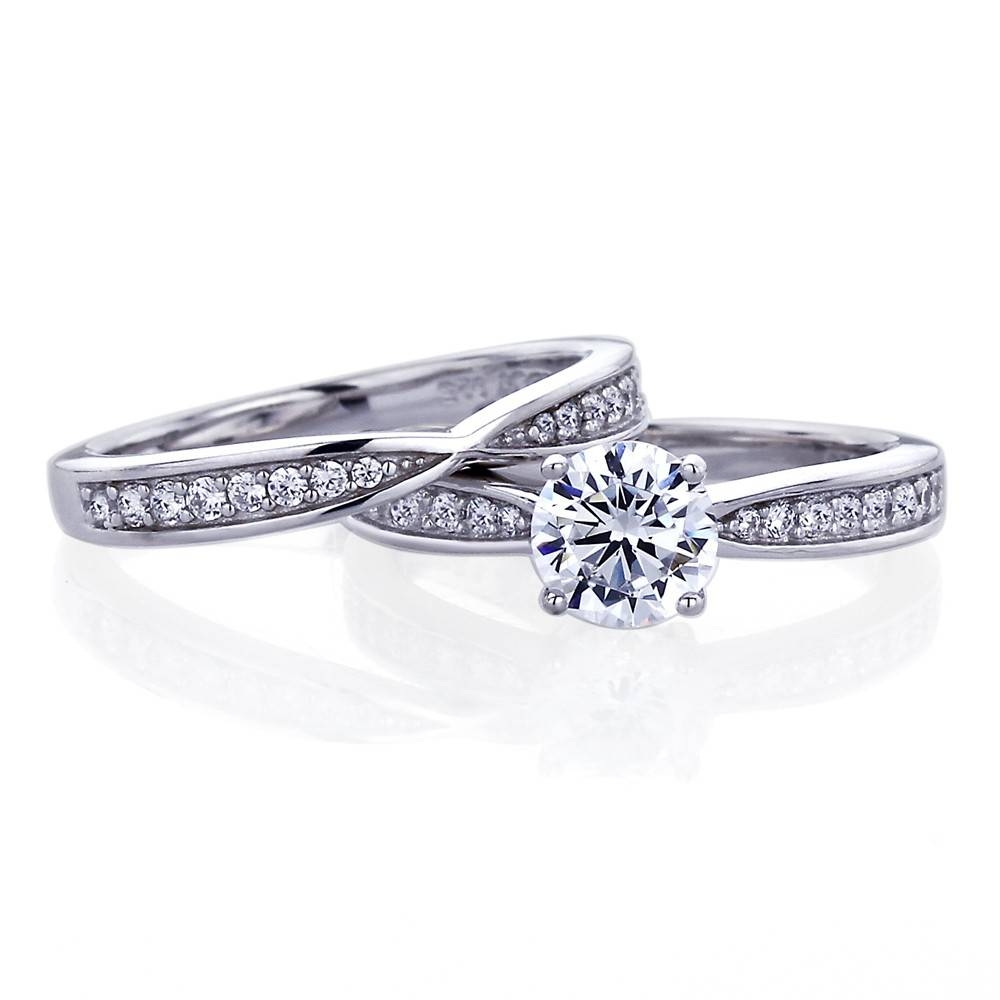 Double Accent | Platinum Plated Sterling Silver Wedding Ring Round With Regard To Silver Engagement Ring Sets (View 5 of 15)