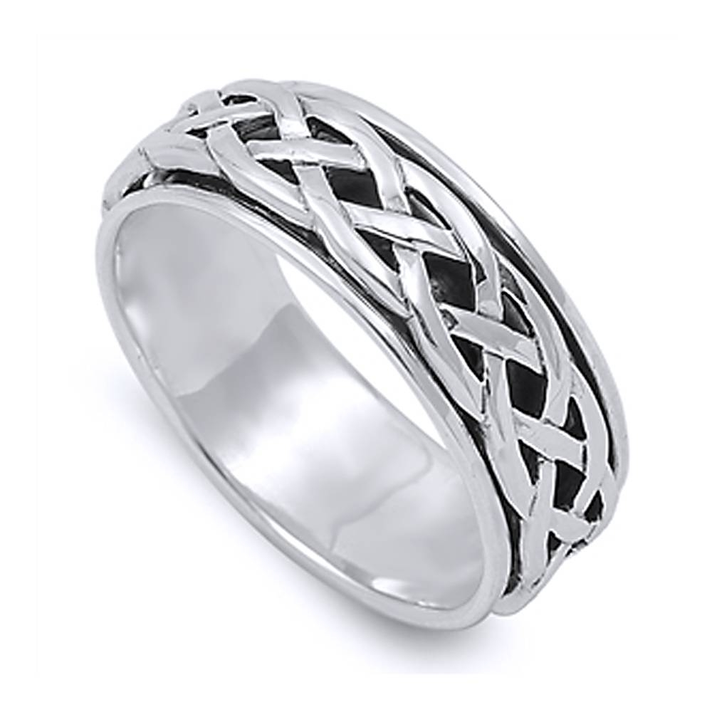 Double Accent | Sterling Silver Wedding & Engagement Ring Celtic Intended For Tribal Engagement Rings (View 3 of 15)