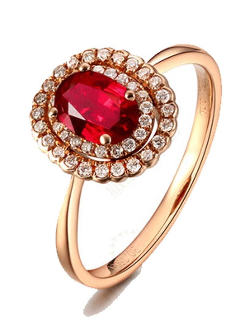 Double Halo 1 Carat Ruby And Diamond Engagement Ring In Yellow Regarding Ruby Engagement Rings Yellow Gold (View 6 of 15)