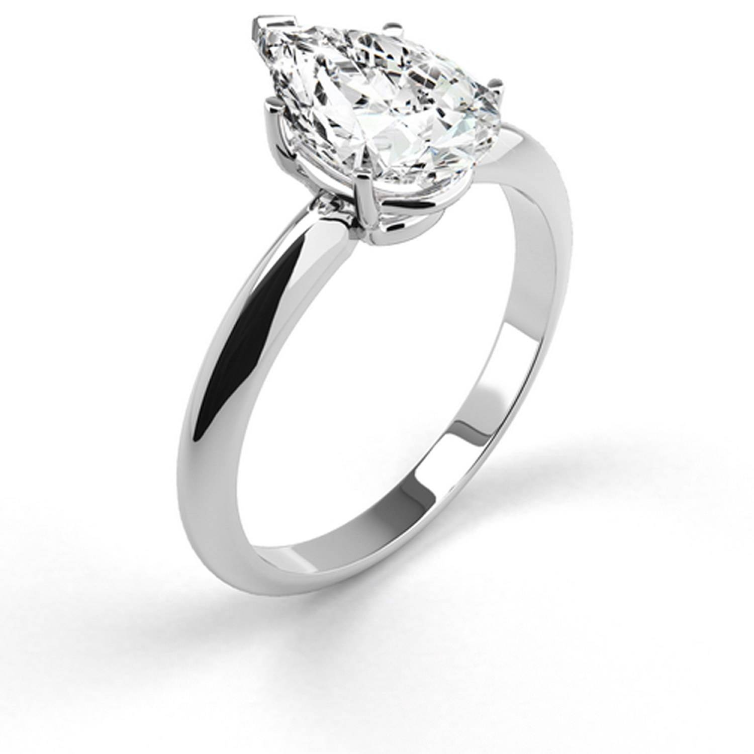 D/si1 Diamond Engagement Ring 1.5 Carat Pear Shaped 14K White Gold Inside  (View 10 of 15)