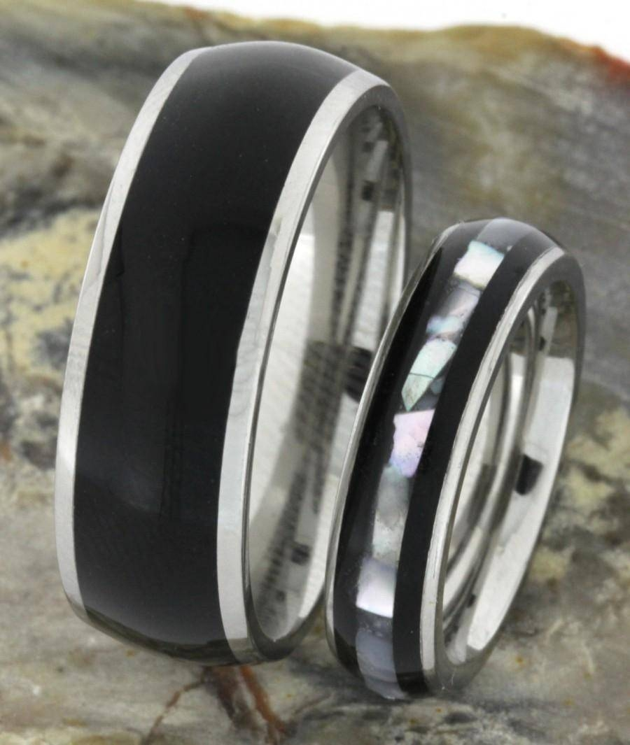 Ebony Wood With Mother Of Pearl Inlay, Wedding Band Set, Ring Pertaining To Mother Of Pearl Wedding Bands (View 2 of 15)